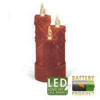 Свеча светильник LED 3 восковых красных свечи h19x8см 67-43