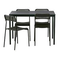 Стол и 4 стула ТЭРЕНДО / АДДЕ черный ИКЕА, IKEA