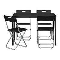 Стол и 4 стула ТЭРЕНДО / ГУНДЕ черный ИКЕА, IKEA, фото 1