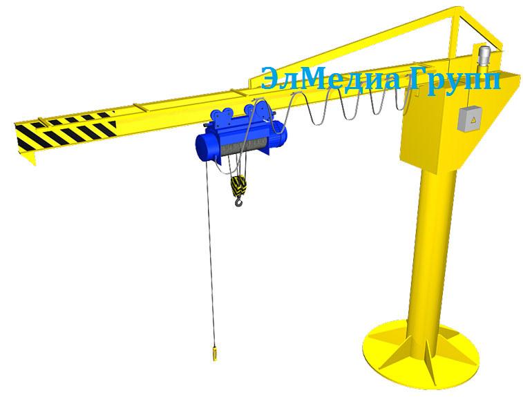 Консольный механический кран грузоподъемностью 0.25 т, 0.5 т, 1 т, 2 т, 3.2 т, 5 т, 10 т,