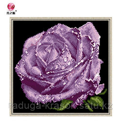 "Картина-мозаика стразами ""Фиолетовая роза"" 32х31 см"