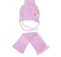 Комплект шапка и шарф для девочки теплый