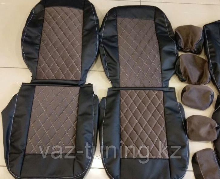 Комплект чехлов (комб.экокожа + автовелюр) Лада Приора универсал ВАЗ 2171 с 2011 г.в.