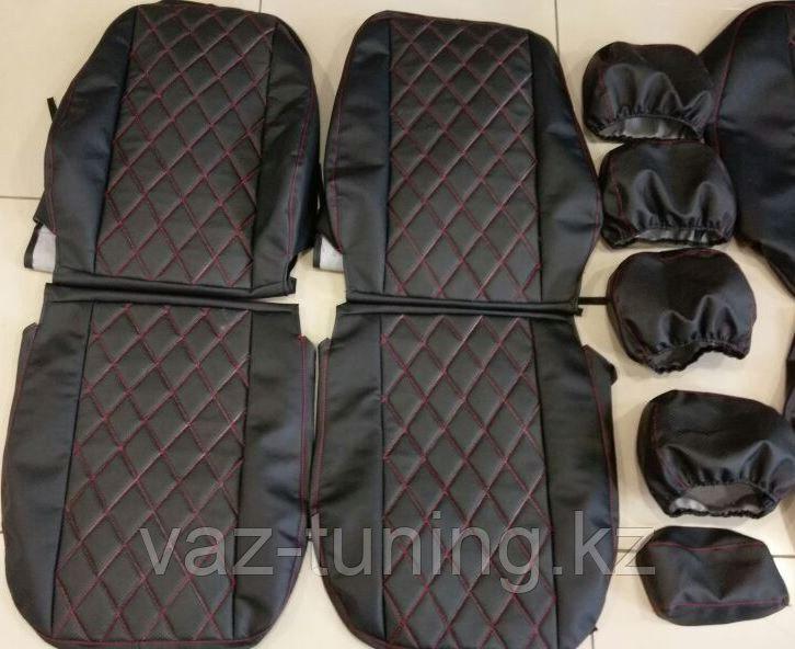 Комплект чехлов (комб.экокожа + перфорированная кожа) Лада Приора седан ВАЗ 2170 до 2011 г.в.