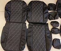 Комплект чехлов (комб.экокожа + перфорированная кожа) Лада Приора седан ВАЗ 2170 с 2011 г.в., фото 1