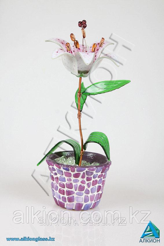 Декоративный цветок из стекла «Лилия белая»