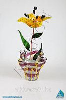 Декоративный цветок из стекла «Лилия желтая»