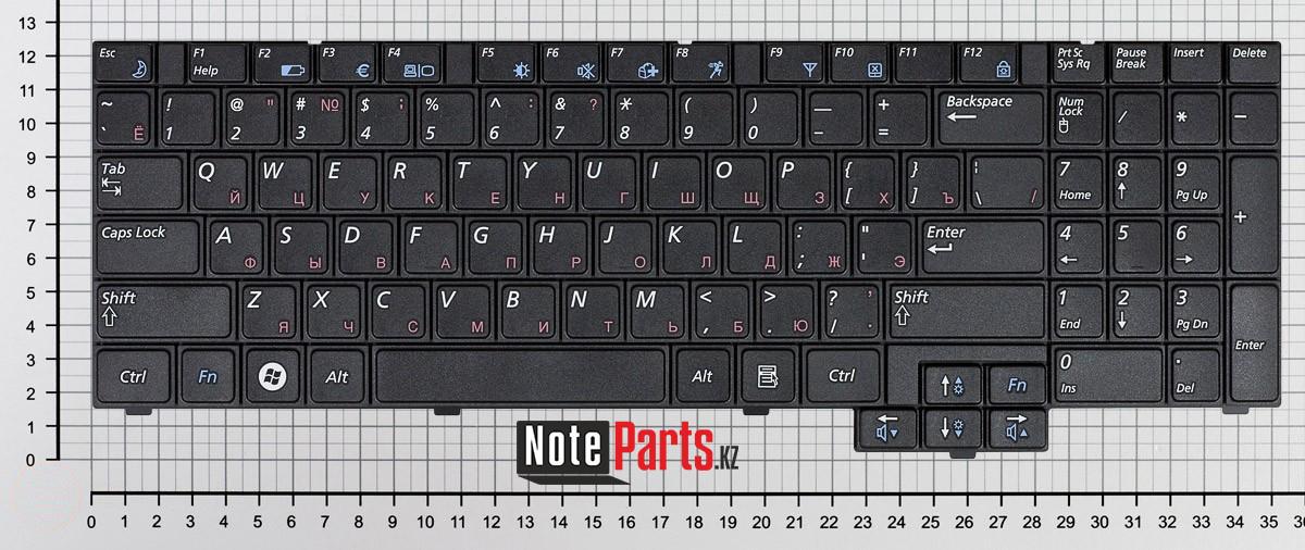 Клавиатура для ноутбука Samsung R517/ R523/ R528/ R530/ P580/ R620, RU, черная