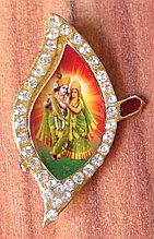 Значок Кришна и Радха, с камнями в виде листка