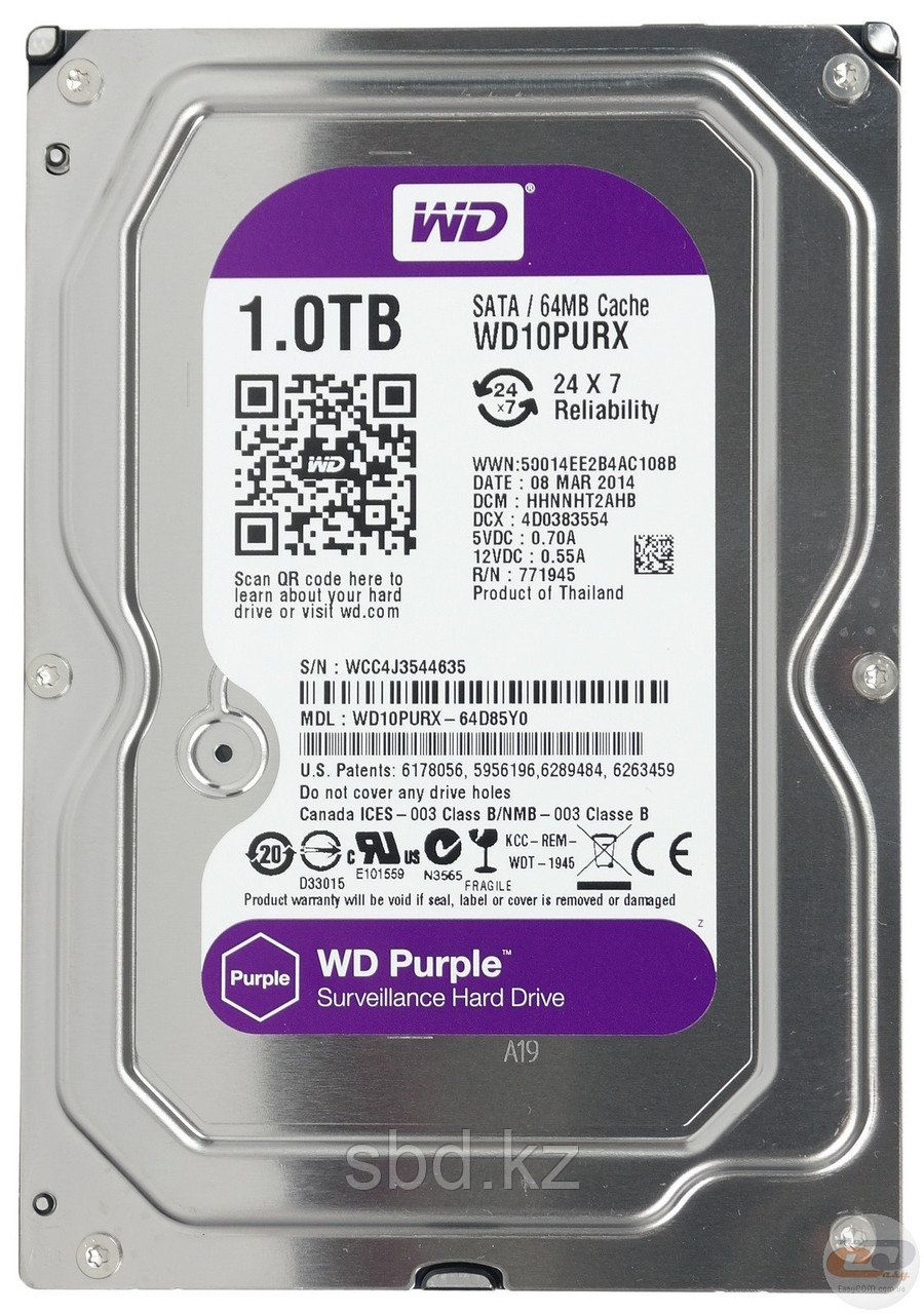 Жесткий диск HDD 1000Gb Purple Western Digital