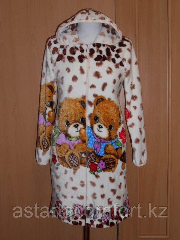 Теплый подростковый халат с капюшоном. Вельсофт-пенка. Россия