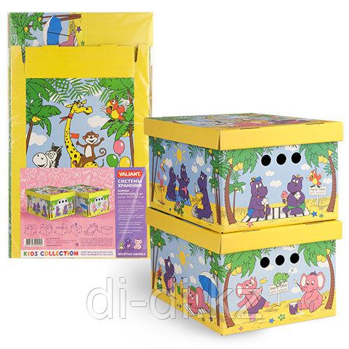 VALIANT Короб картонный, складной, малый, 25*33*18.5 см, набор 2 шт., ВЕСЁЛАЯ АФРИКА