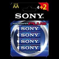 Батарейки LR6 AA пальчиковые Sony AM3B4D Stamina Plus, 4 шт