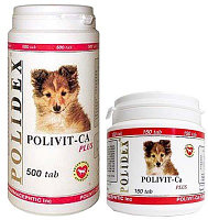 POLIDEX Polivit-Ca plus, Полидекс, мультивитамины для щенков, уп. 500 табл.