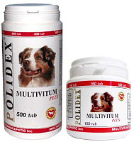 POLIDEX Multivitum plus, Полидекс, мультивитамины для собак, уп. 150 табл.
