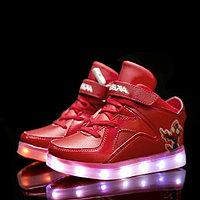 LED Кроссовки детские со светящейся подошвой, Spiderman красные