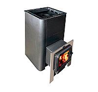 Печь-каменка Олимп 14-18 с парогенератором и чугунной дверцей со стеклом.(дрова.уголь)