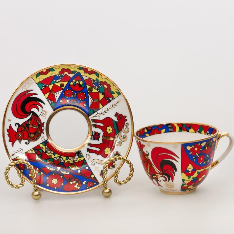 Чашка с блюдцем Народные узоры. ИФЗ, авторская работа, ручная роспись