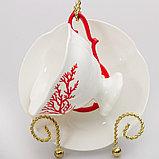 Чайная пара Коралл. Костяной фарфор, ручная роспись, ИФЗ, фото 2