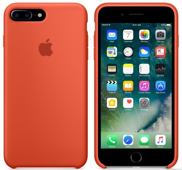 Cиликоновый чехол для iPhone 7 Plus (оранжевый)