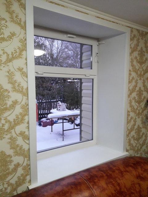 Пластиковое окно, установка отливов, подоконника, отделка панелями откосов