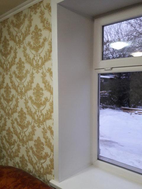 Отделка откосов, установка пластикового окна глухого типа и сложного открывания типа форточки