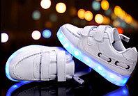 LED Кроссовки детские со светящейся подошвой, белые низкие, фото 1