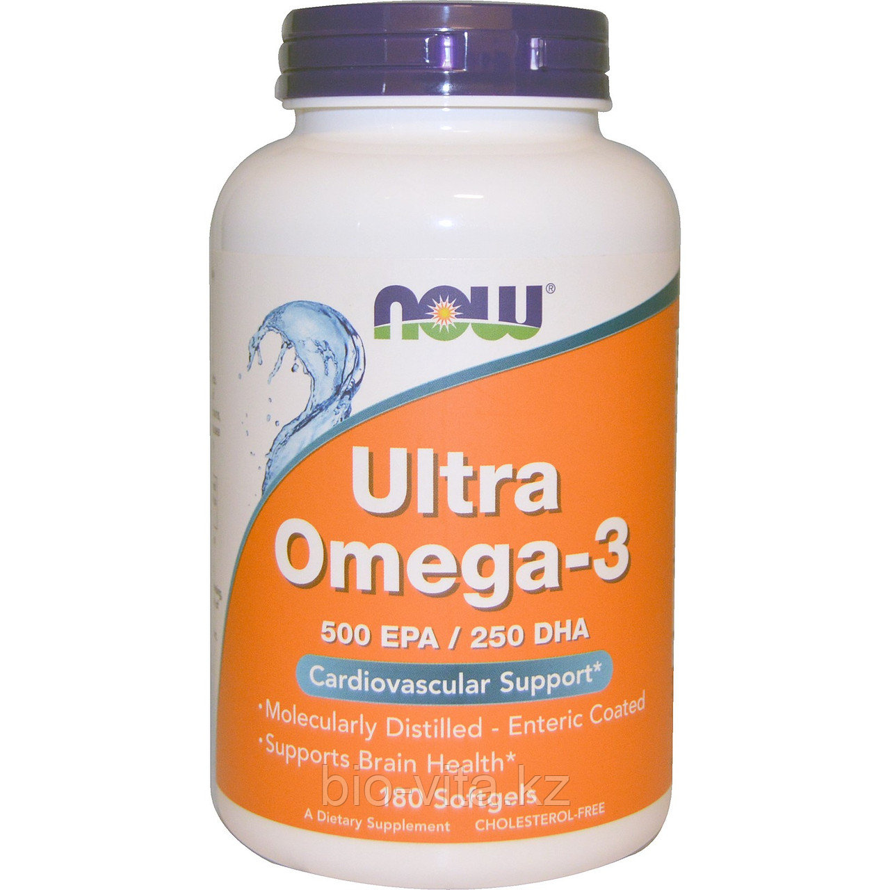 Омега.  Ультра омега-3, 500 ЭПК/250 ДГК в 1 капсуле, 180 желатиновых капсул. Now foods