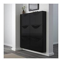 Шкаф для обуви ТРОНЭС 3 шт. черный ИКЕА, IKEA, фото 1