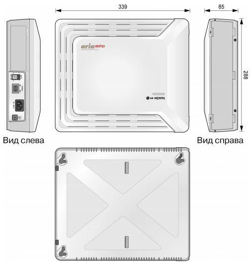 Внешний вид и размеры системного блока мини АТС Aria Soho