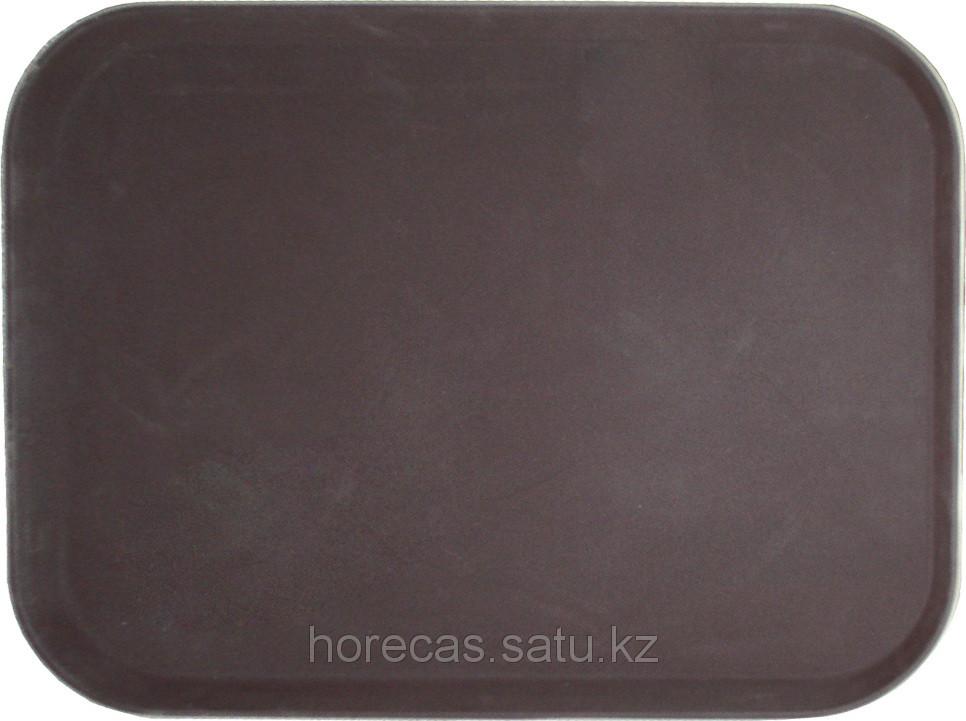 Поднос прорезиненный прямоугольный 500х380х25 мм коричневый [1520CT Brown]