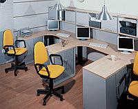 Стол письменный угловой левосторонний, 1400*900/700*750, Импакт/Берёза-Серый