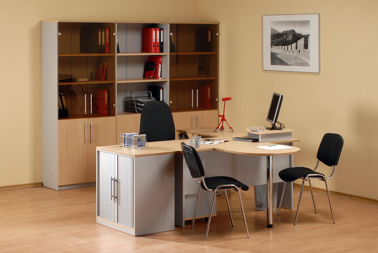 Стол письменный угловой правосторонний, 1400*900/700*750, Импакт/Берёза-Серый