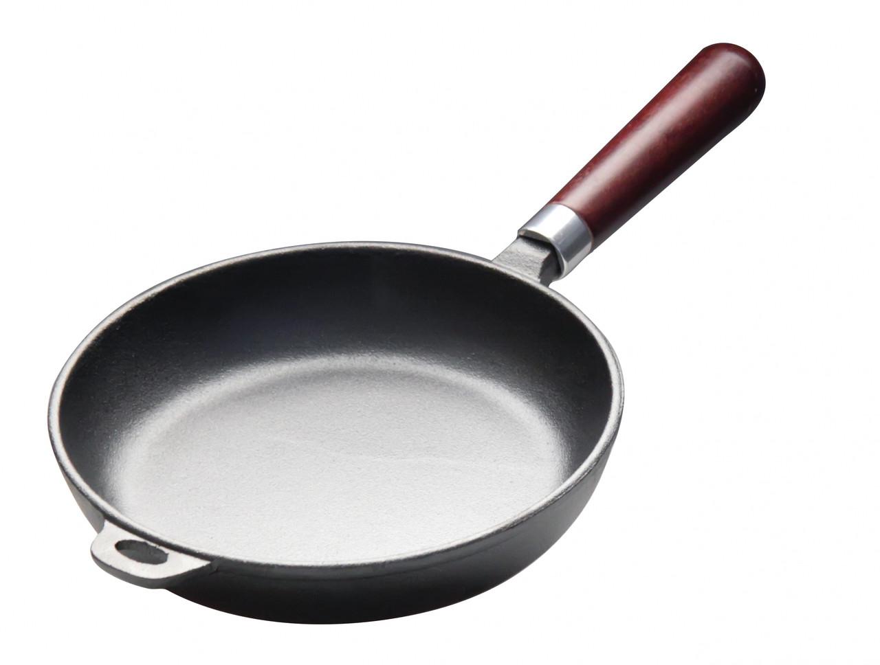Сковорода чугунная 260 мм с деревянной ручкой Luxstahl [НЕR26]