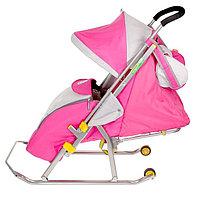 """Санки-коляска """"Ника Детям 4"""" с прорезиненными колёсами, цвет розовый"""