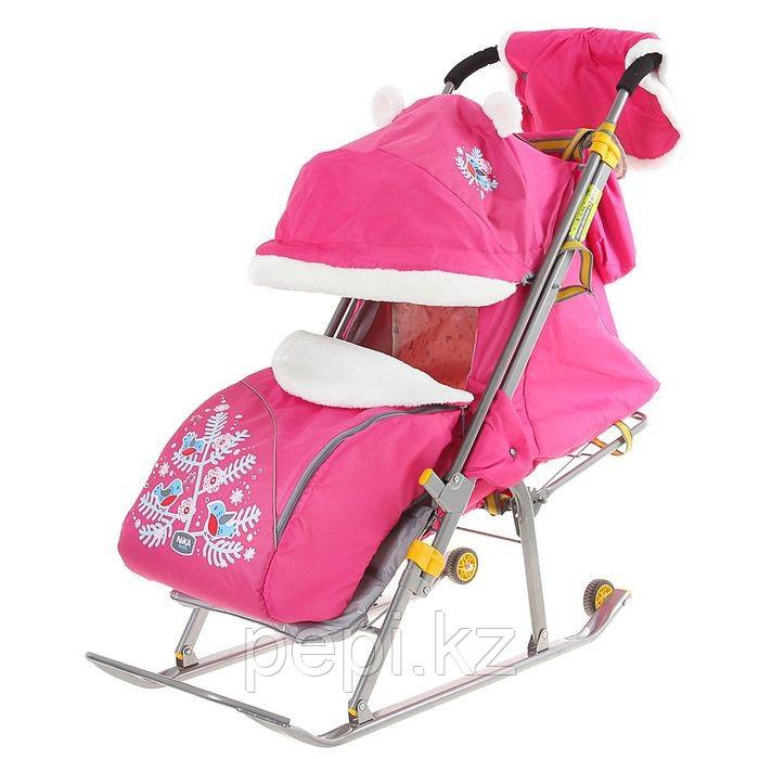 """Санки-коляска """"Ника Детям 6 - снегири на ветках"""" с прорезиненными колёсами, цвет розовый"""