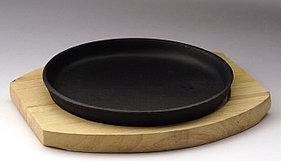 Сковорода круглая на деревянной подставке 185 мм [DSU-S-20u]