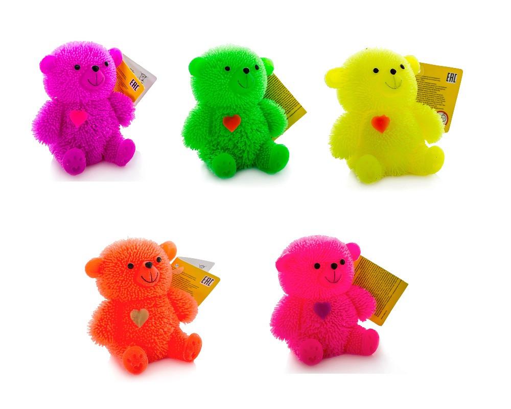 Игрушка с резиновым ворсом - Медвежонок (свет)