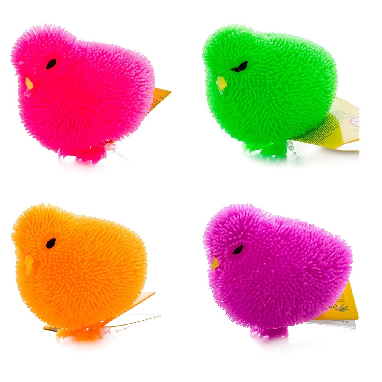 Игрушка с резиновым ворсом - Цыпленок (свет)