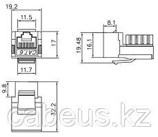Hyperline KJ2-8P8C-C6-90-WH Вставка Keystone Jack RJ-45(8P8C), категория 6, Dual IDC, белая