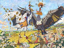 Постер Петра Фролова Журавли. Размер 75х56 см, акварельная бумага