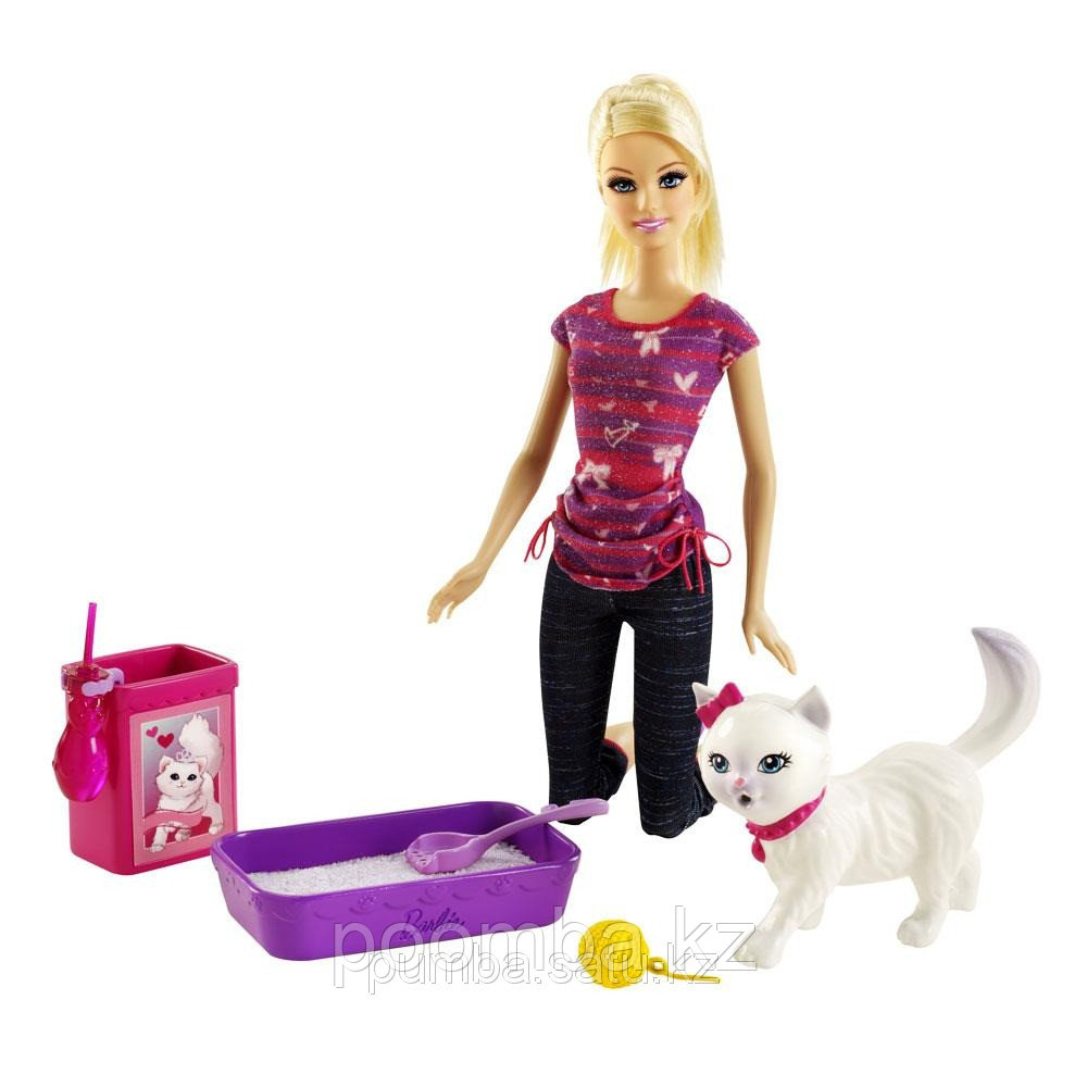 Кукла Барби ухаживает за кошкой/ BDH76 Барби. Набор по уходу за котёнком