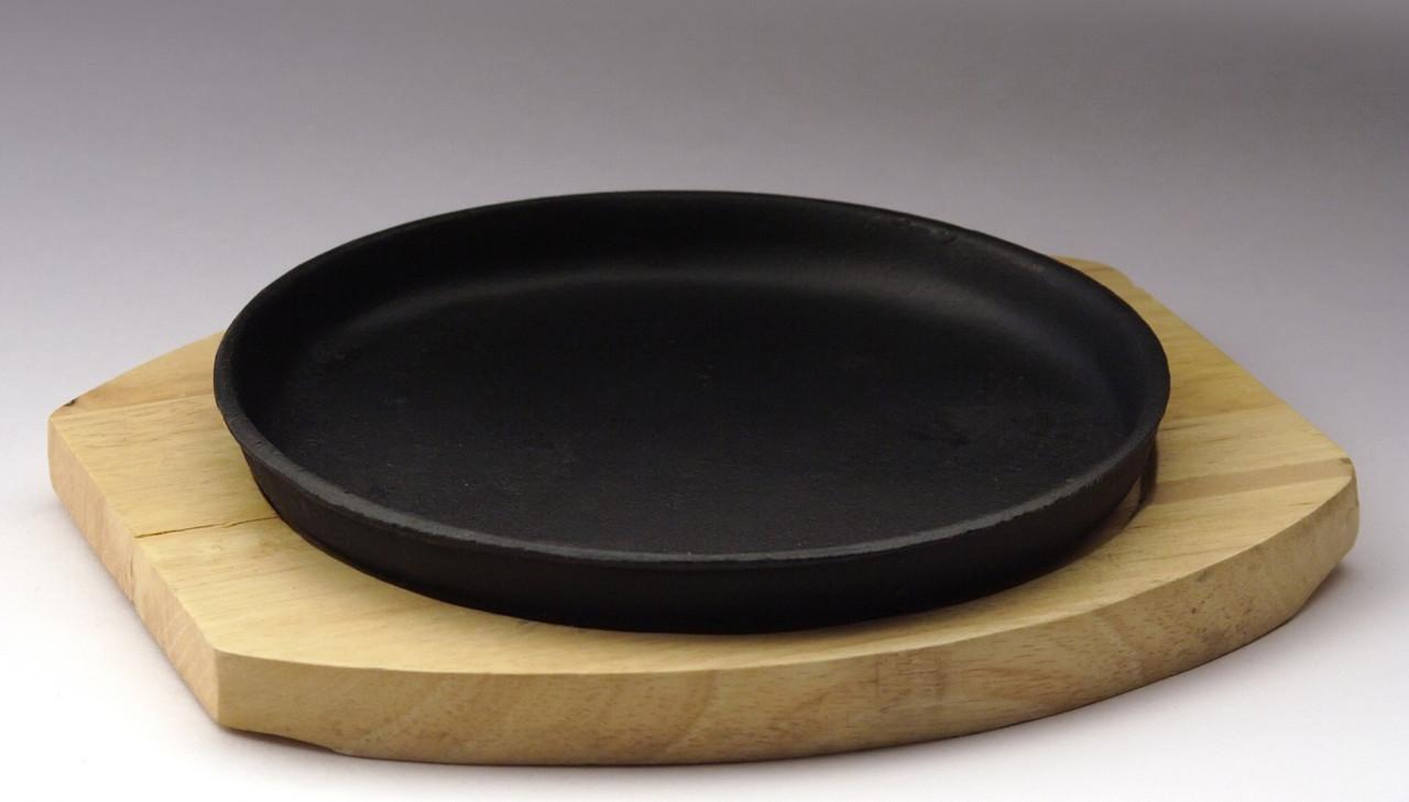 Сковорода круглая на деревянной подставке 220 мм [DSU-S-22u]