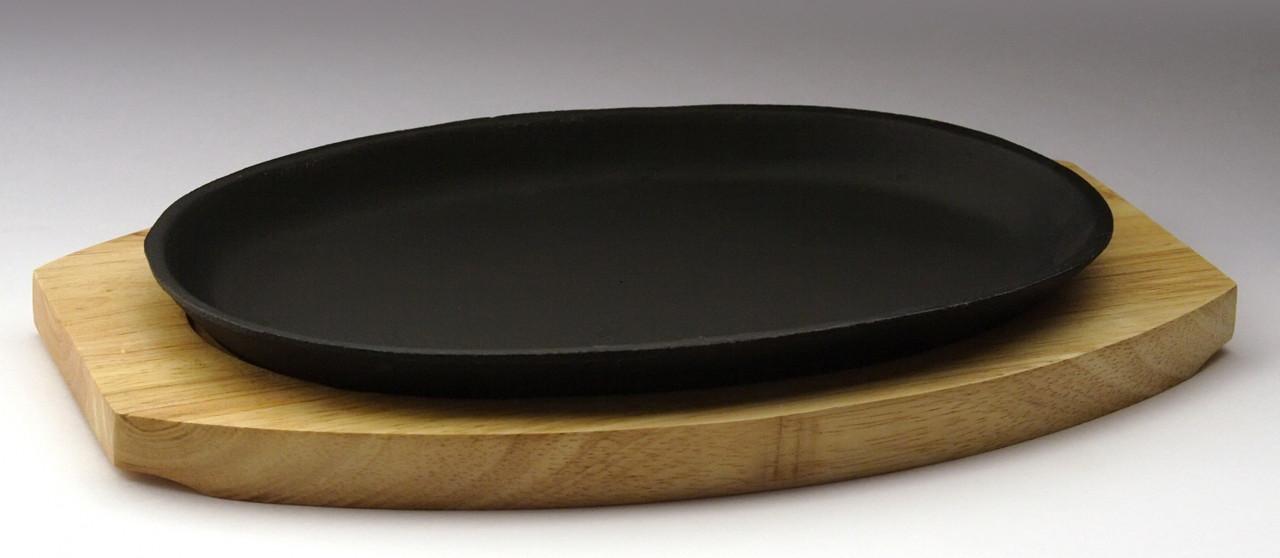 Сковорода овальная на деревянной подставке 240х140 [DSU-S-D2]
