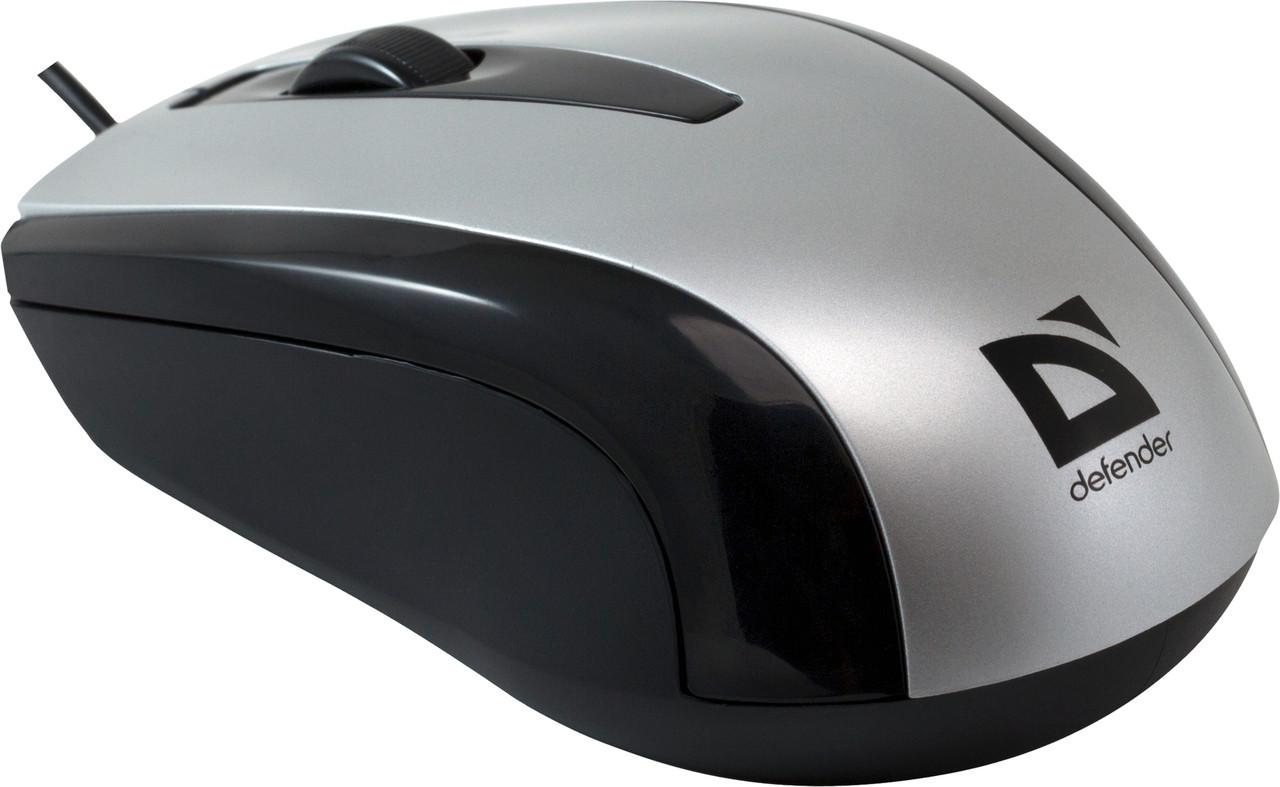 Defender 52140 Optimum MM-140 Проводная оптическая мышь USB S(Серебро) 2кн+кл 800dpi