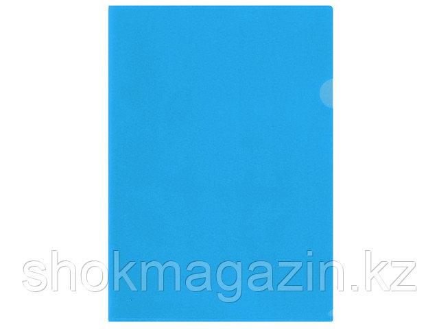 Папка-уголок прозрачная синяя