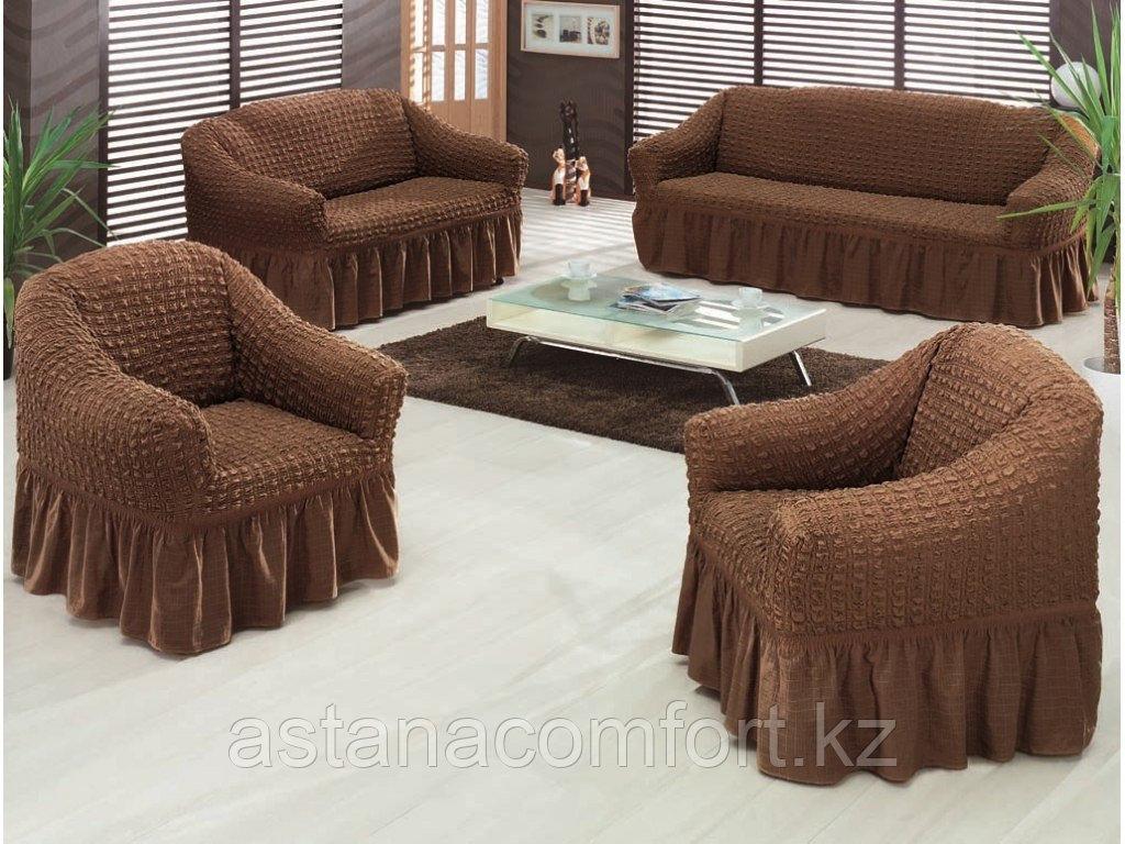 Натяжные чехлы на диван большой, диван малый и кресло. Цвет – Шоколадный