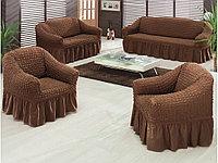 Натяжные чехлы на диван большой, диван малый и кресло. Цвет Шоколадный