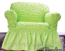 Натяжные чехлы на диван большой, диван малый и кресло. Цвет –  фисташковый