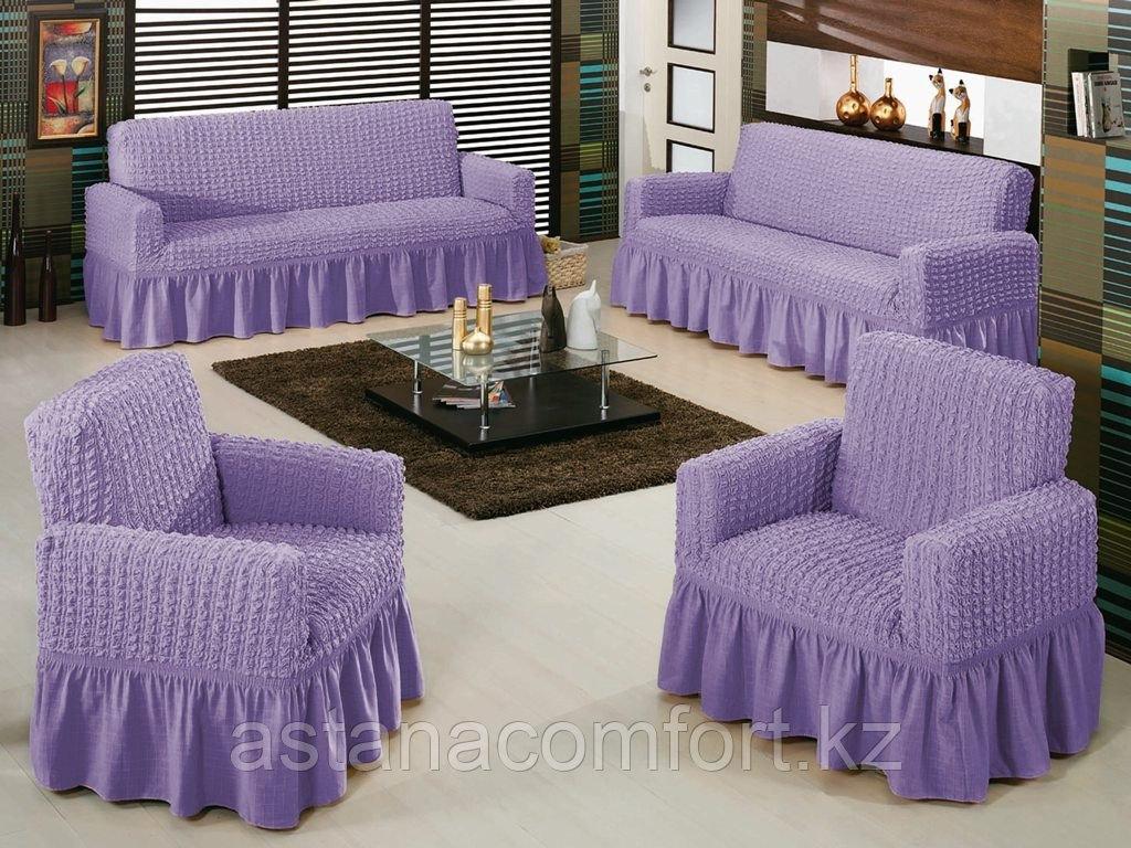 Натяжные чехлы на диван большой, диван малый и кресло. Цвет – сиреневый